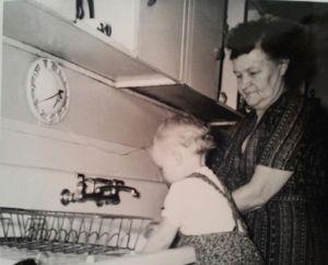 With Grandma, circa 1960